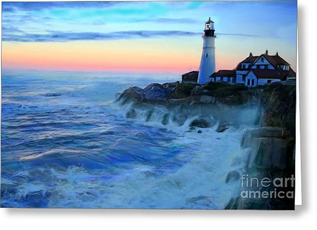 Sunset At Portland Head Lighthouse Greeting Card by Earl Jackson