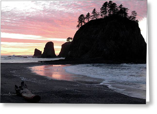 Sunset At Rialto Beach 1 Greeting Card
