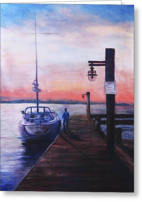 Greeting Card featuring the painting Sunset At Rocky Point by Sher Nasser