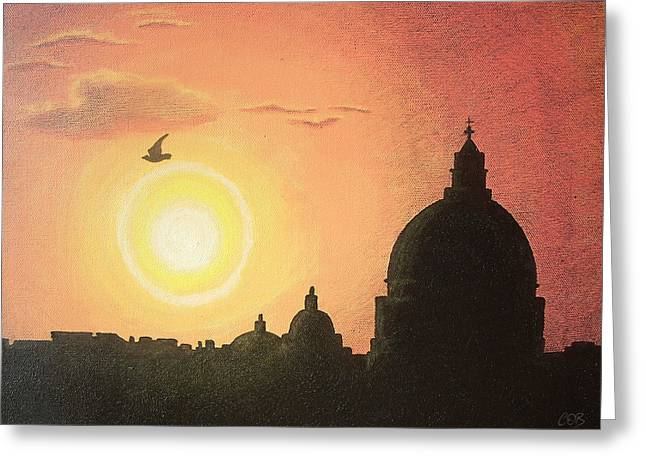 Michelangelo Greeting Cards - Sunset at Saint Peters Basilica Rome Greeting Card by Conor OBrien