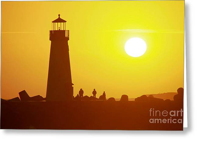 Sunset At Santa Cruz Harbor Lighthouse Greeting Card