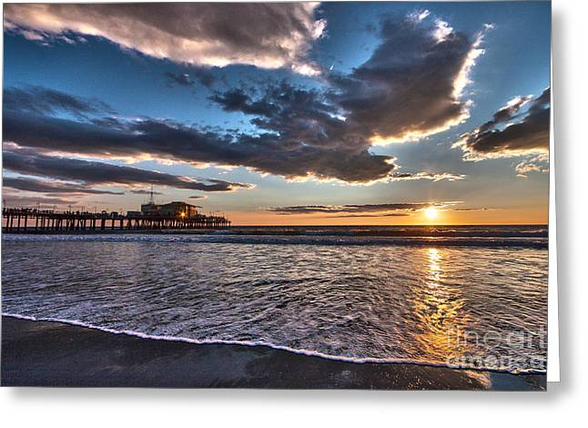 Sunset At Santa Monica. Greeting Card