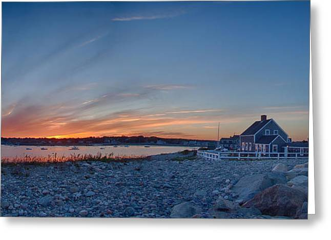 Sunset At Scituate Light Greeting Card