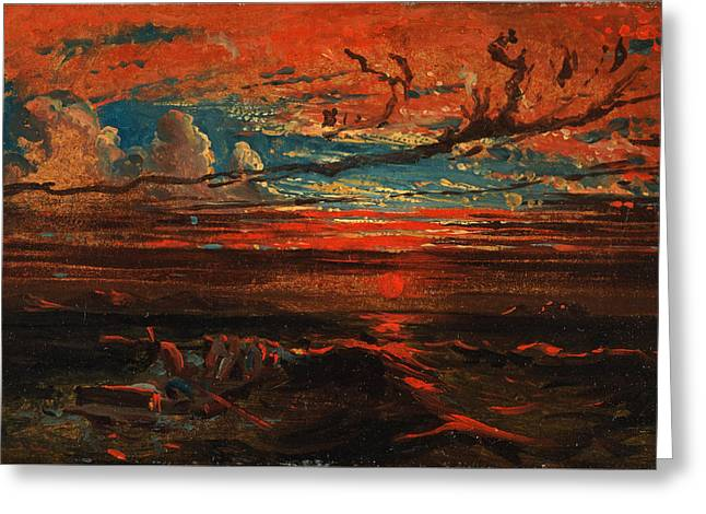 Sunset At Sea After A Storm Greeting Card by Francis Danby