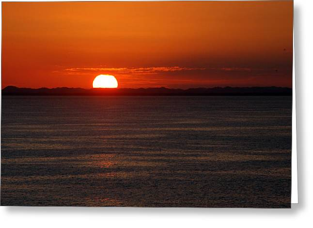 Sunset At Sea Greeting Card by Allen Carroll