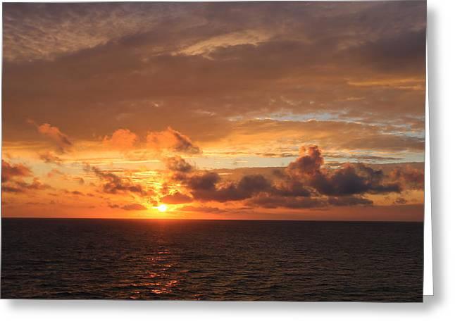 Sunset At Sea Greeting Card by John Roberts