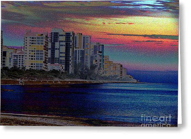 Sunset At Seagate Beach  Greeting Card by Doris Wood