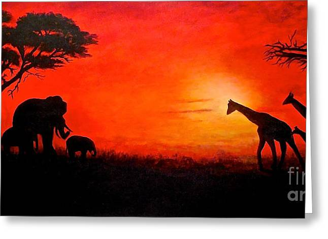 Greeting Card featuring the painting Sunset At Serengeti by Sher Nasser
