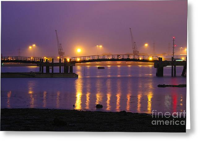 Sunset At Southampton Docks Greeting Card by Terri Waters