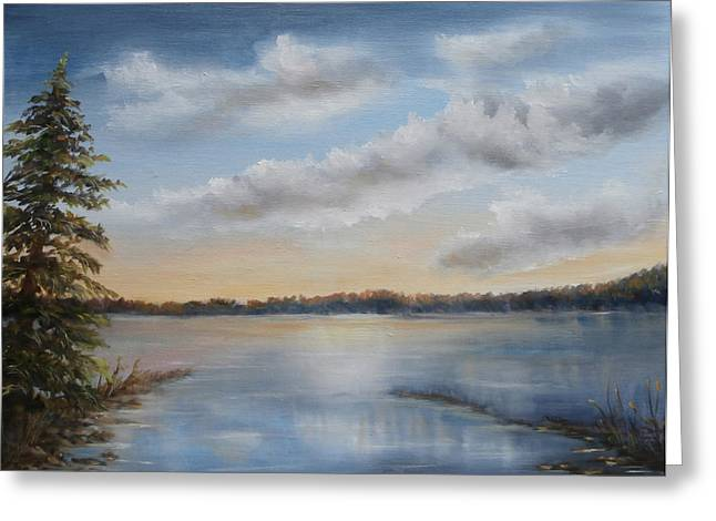Greeting Card featuring the painting Sunset At Sparta Lake New Jersey by Luczay