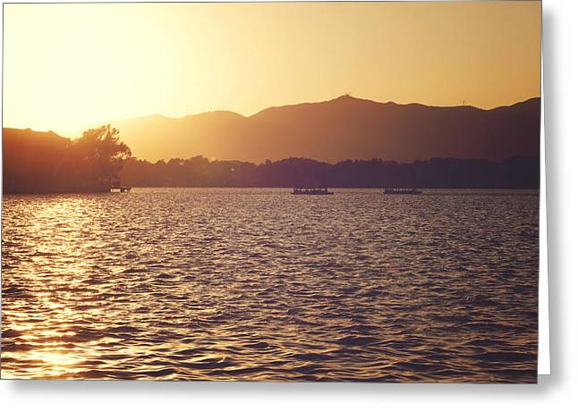 Greeting Card featuring the photograph Sunset At Summer Palace by Yew Kwang