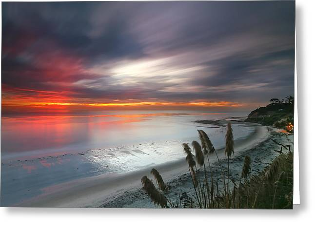 Sunset At Swamis Beach 4 Greeting Card by Larry Marshall