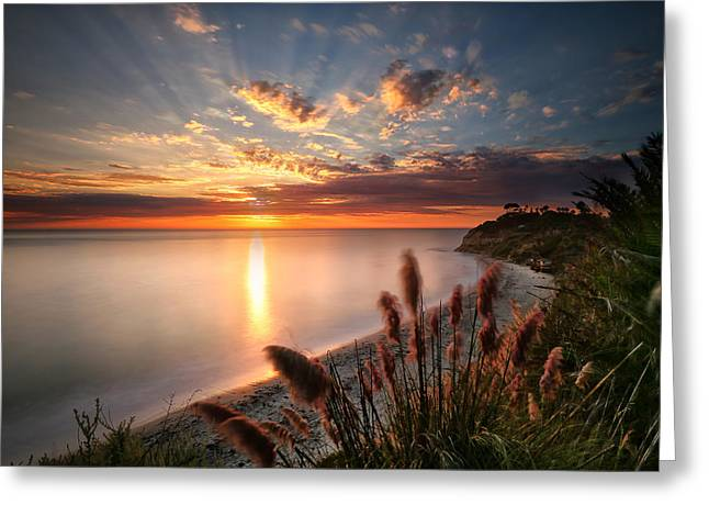 Sunset At Swamis Beach 7 Greeting Card by Larry Marshall