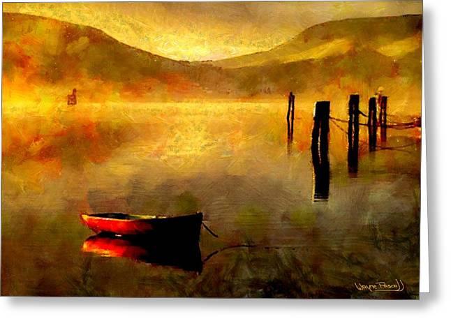 Sunset At The Bay Greeting Card by Wayne Pascall