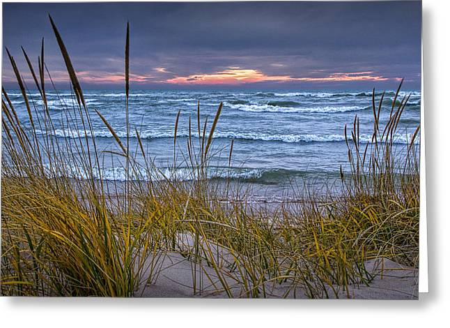Sunset On The Beach At Lake Michigan With Dune Grass Greeting Card