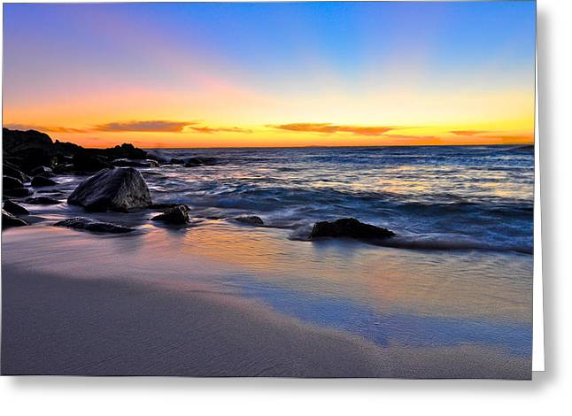 Sunset At The Beach Greeting Card by Sally Nevin