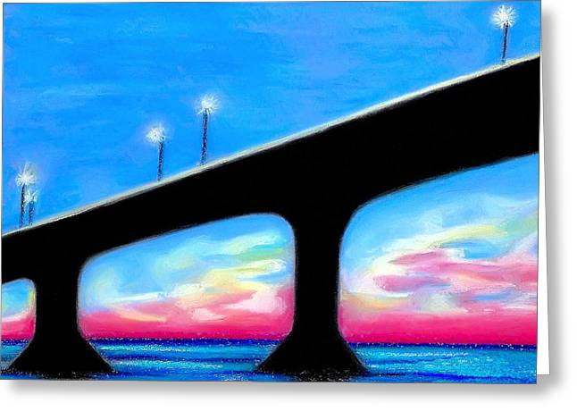 Sunset At The Bridge Greeting Card