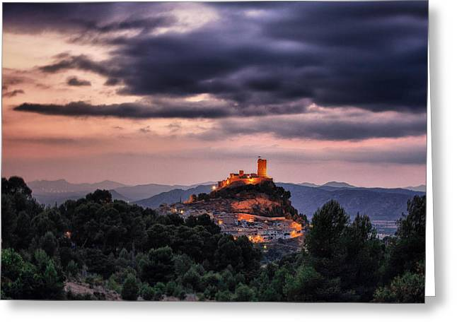 Sunset At The Castle Greeting Card
