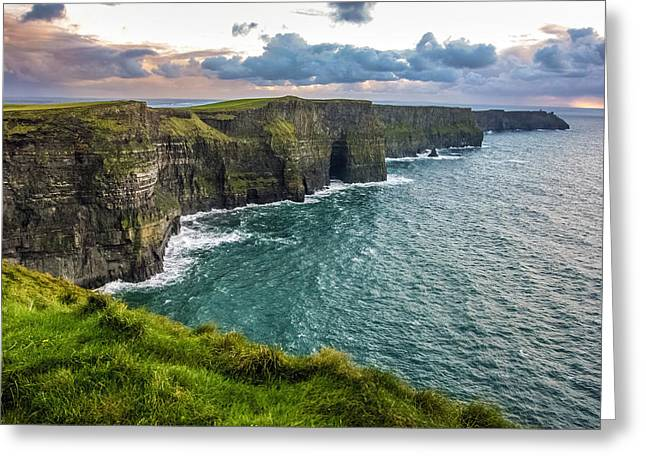 Sunset At The Cliffs Of Moher Greeting Card