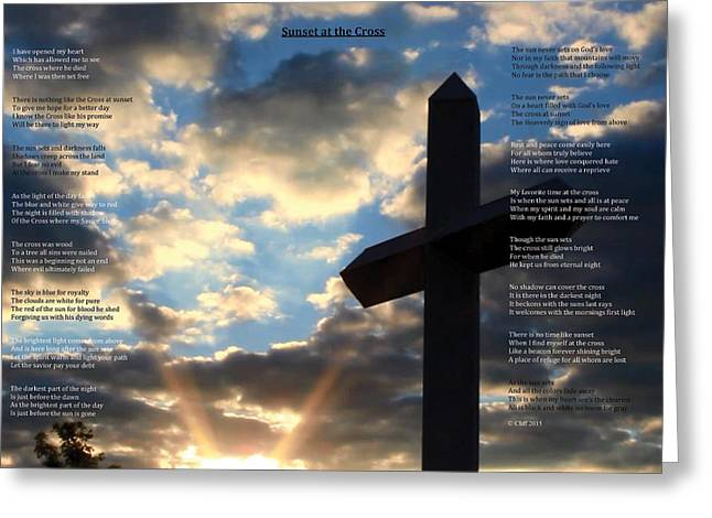 Sunset At The Cross Greeting Card by Cliff Ball