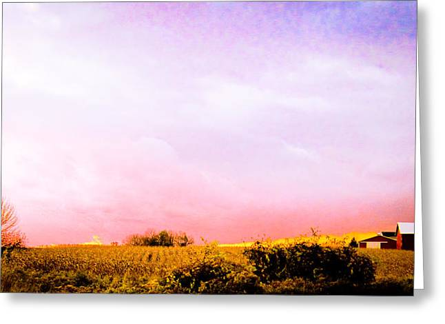 Greeting Card featuring the photograph Sunset At The Farm by Sara Frank