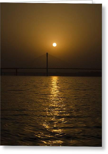 Sunset At The Ganga - Allahabad Greeting Card by Rohit Chawla