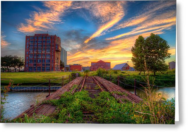 Sunset At The Imperial Sugar Factory Early Stage Landscape Greeting Card by Micah Goff
