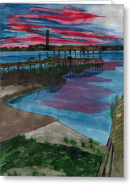 Sunset At The Lake Clay Boat Ramp Greeting Card
