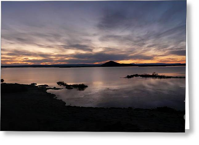 Sunset Over Lake Myvatn In Iceland Greeting Card