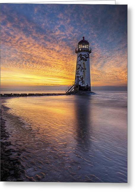 Sunset At The Lighthouse Greeting Card by Ian Mitchell