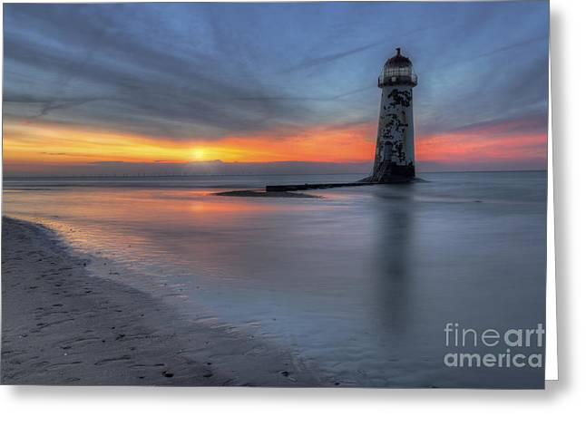 Sunset At The Lighthouse V3 Greeting Card by Ian Mitchell