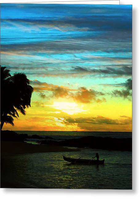 Sunset At The Luau Greeting Card