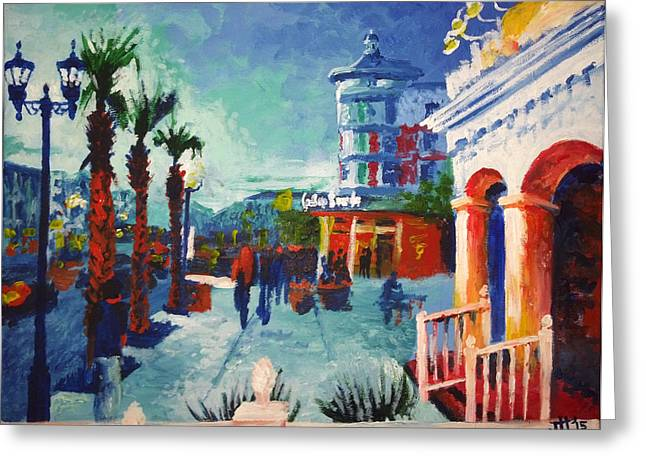 Greeting Card featuring the painting Sunset At The Market Common by Jennifer Hotai