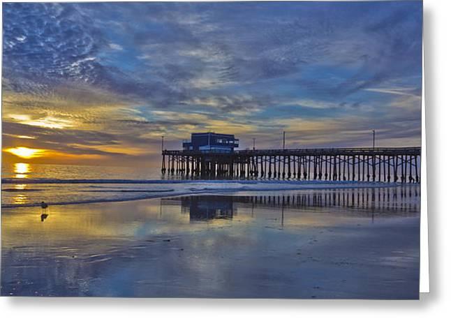 Sunset At The Newport Pier Greeting Card by Harold Vaagan