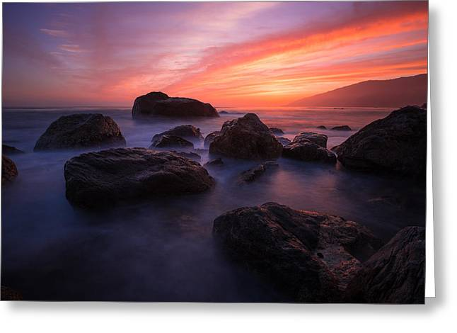 Sunset At The Pacific Greeting Card