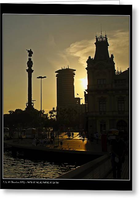 Sunset At The Peace Gate Greeting Card by Pedro L Gili