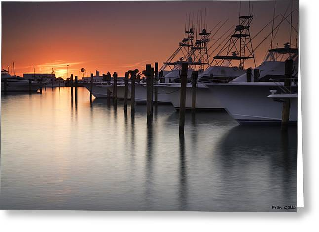 Sunset At The Pelican Yacht Club Greeting Card
