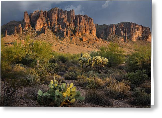 Sunset At The Superstition Mountains Greeting Card