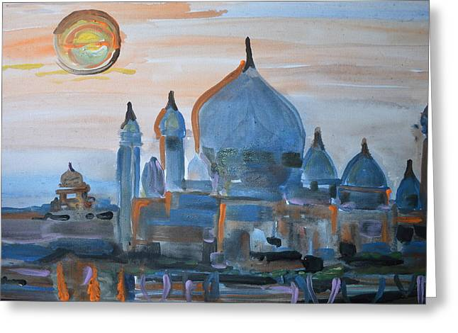 Sunset At The Taj Greeting Card by Vikram Singh