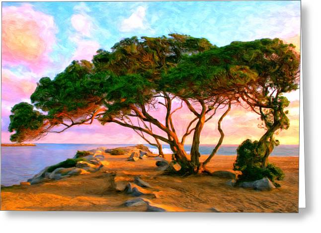 Sunset At The Wedge In Newport Beach Greeting Card by Michael Pickett
