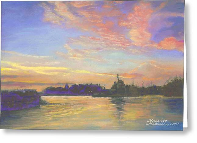 Sunset At Victoria Harbor Greeting Card