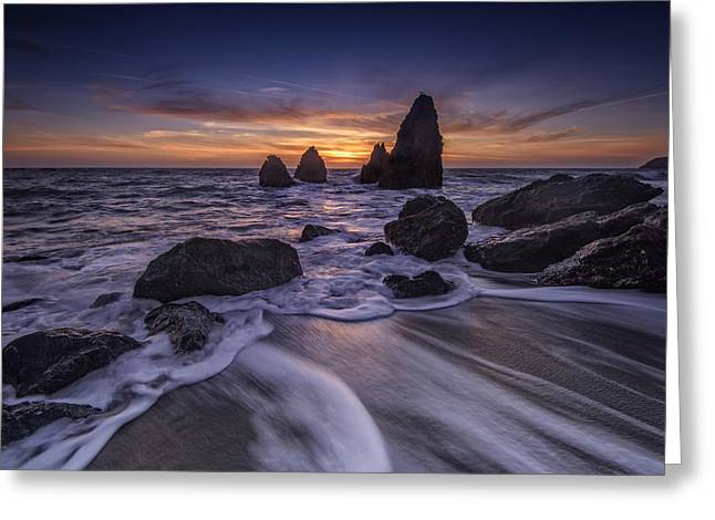 Sunset At Water's Edge Greeting Card by Rick Berk