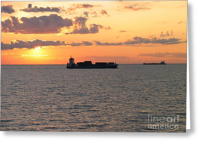 Greeting Card featuring the photograph Sunset Baltic Sea by Art Photography