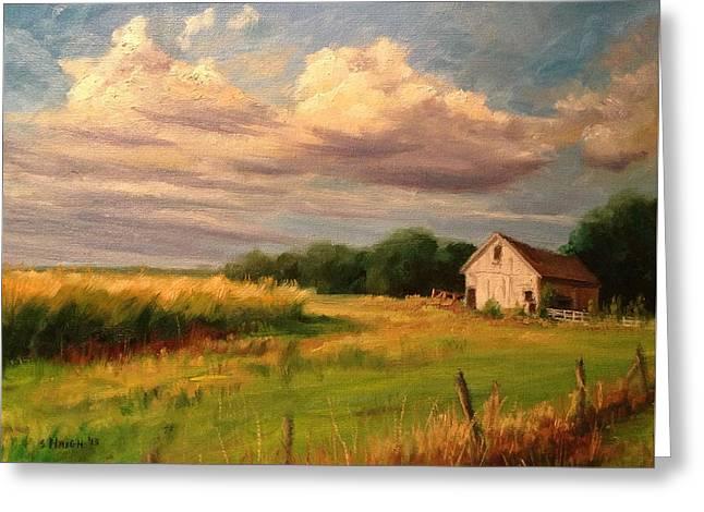 Sunset Barn Greeting Card by Steve Haigh