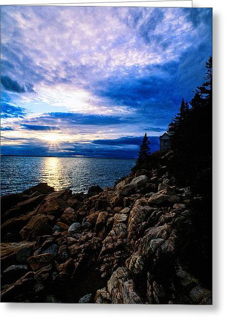 Sunset Bass Harbor Greeting Card