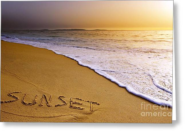 Sunset Beach Greeting Card by Carlos Caetano