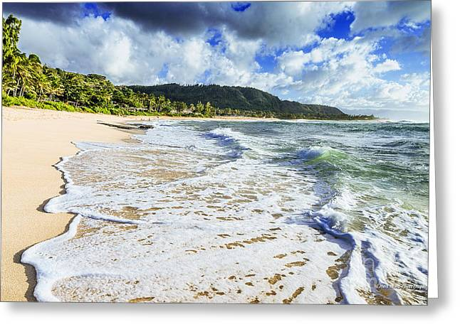 Greeting Card featuring the photograph Sunset Beach Foamy Shoreline by Aloha Art