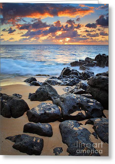 Sunset Beach Greeting Card by Inge Johnsson