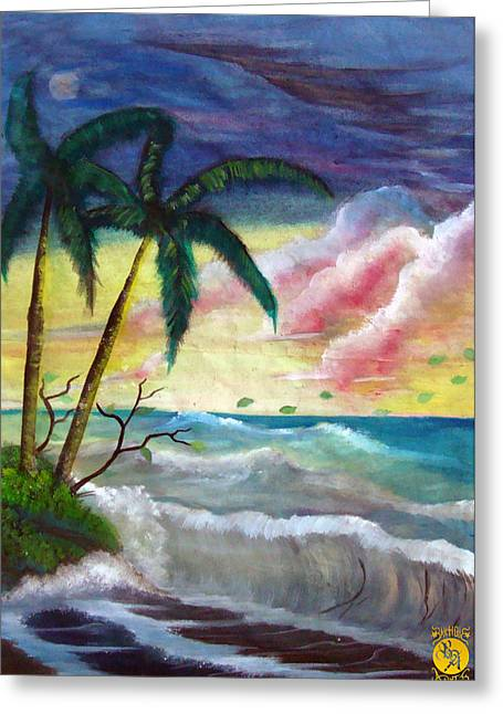 Sunset Beach Greeting Card by Richard Bantigue