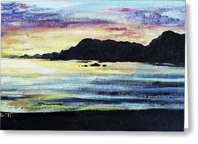 Greeting Card featuring the painting Sunset Beach by Shana Rowe Jackson